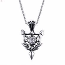 Neuer Entwurfs-Silber-Punkart-Felsen-Zircon-hängende Halsketten-Entwurfs-Schmucksachen