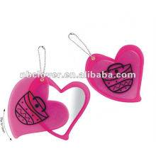 heart shape side mirror with keyring