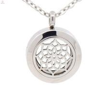 Aço inoxidável personalizado 25mm perfume sólido filigrana gaiola medalhão, moeda pingentes de jóias, medalhão de óleo essencial