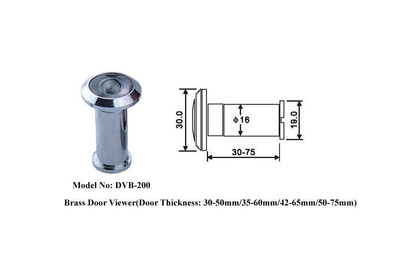 Brass 200 Degree Door Viewer With Privacy Cover