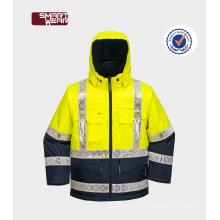 Construção segurança oxford 3m impermeável segurança reflexiva jaqueta de segurança