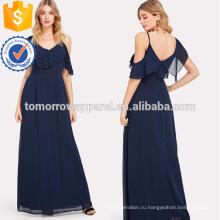 Асимметричное плечо Наслоенные оборки Макси платье Производство Оптовая продажа женской одежды (TA3233D)