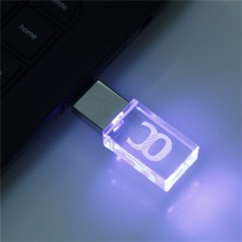 LED Flash Drive Crystal Transparent Thumb Drive