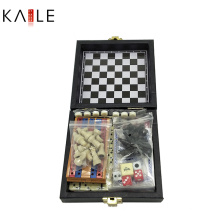 Hot Sale Small 6 in 1 Game Set with Leather Box