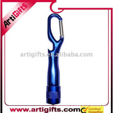 Lumière de mousqueton en aluminium LED avec crochet de clé d'ouvre-bouteille