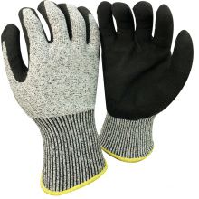 NMSAFETY anti cut high level 13 gauge anti cut liner coated sandy nitrile on plam work gloves