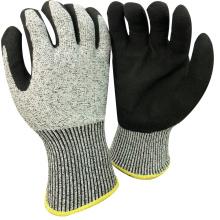 NMSAFETY анти-вырезать высокий уровень 13 калибровочных анти-вырезать, покрытая оболочкой нитрильного Сэнди на плам рабочие перчатки