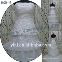 RSW-9 2011 venta caliente nuevo diseño de las damas de moda elegante personalizado a medida apliques y volantes A-line vestido de novia