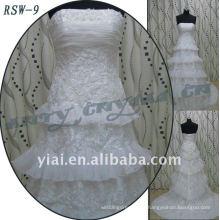 RSW-9 2011 Hot Sell New Design Ladies à la mode élégante et personnalisée en vraie appliques et robes en ligne A-line Robe de mariée