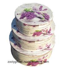 Forma redonda decorativa de cartón rígido de papel de flores de almacenamiento de regalo Nesting Box