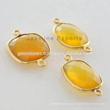 Mejor Calidad Vermeil Amarillo Chalcedony Bisel Configuración Gemstone Connector Fabricante