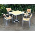 Venda quente de madeira de teca e conjunto de mesa de jantar de alumínio