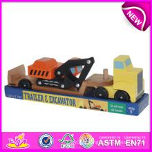 Mini remorque de jouet d'excavatrice pour des enfants, camions de jouet de remorque de tracteur pour des enfants, jouet en bois de camion de remorque de jouet pour bébé W04A081
