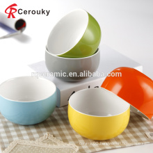 China supplier custom beautiful two tone color glaze 5 inch ceramic salad bowl