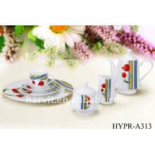 Ensemble de dîner en porcelaine ronde 22pcs, tasse de thé au sucre en sucre fabriqué en Chine, ensembles de vaisselle en céramique de design bien vendu au marché européen