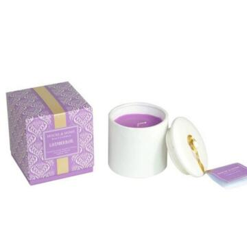 colored ceramic soy scented candle with lid