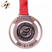 Antique bronze die cut personalizado medalha de desafio de judô dos Emirados Árabes Unidos