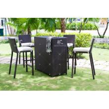 Einzigartiges Design Poly Rattan Bar Set Für Outdoor Garten