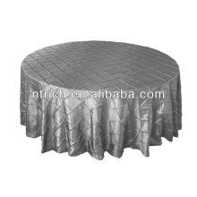 encantadora pintuck tafetá casamento mesa redondo/quadrado, prata pintuck tabela tampa de pano