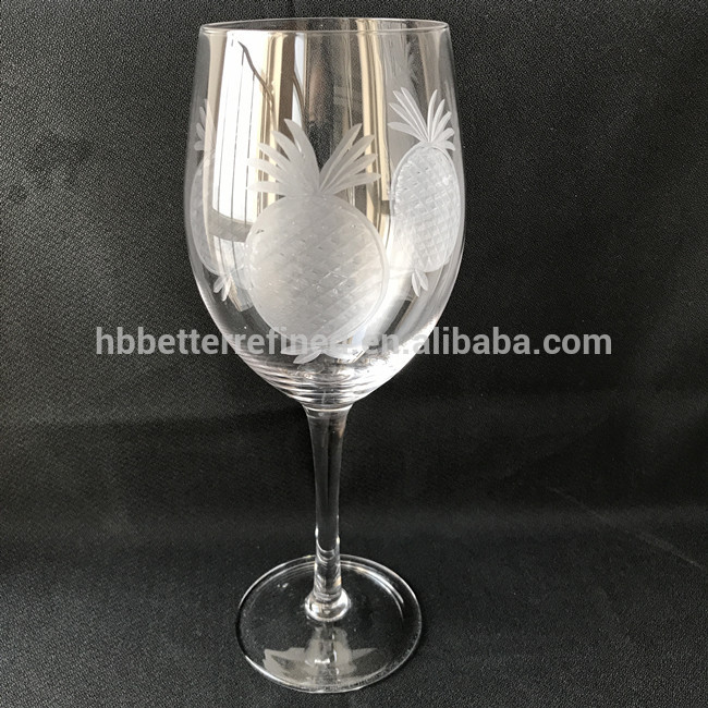 Etched Glass Goblet Wine Glass1