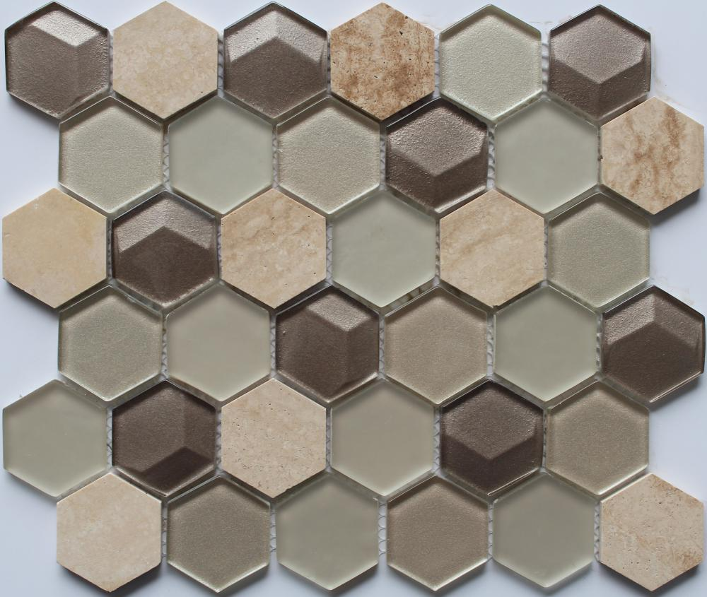 3D Effect Hexagon Shape Glass Mosaic