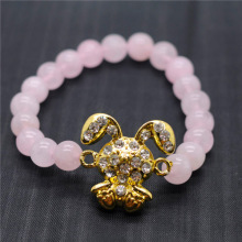 Rose Quartz 8MM Round Beads Stretch Gemstone Bracelet with Diamante alloy rabbit Piece