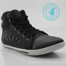 Мужчины PU обувь заклепки холст лодыжки обувь (СНС-011318)