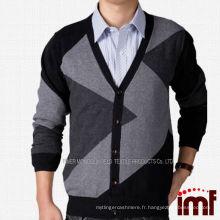Cardigan à rayures irrégulier 100% Pull en tricot Homme en cachemire