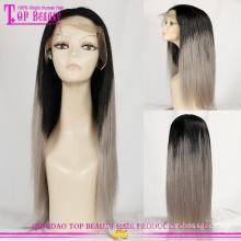 Top Schönheit Echthaar Perücke-Fabrik in Qingdao hohe Quaity menschliches Haar grau Lace front Perücke