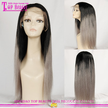 Top beauty human hair wig factory in Qingdao high quaity human hair grey lace front wig