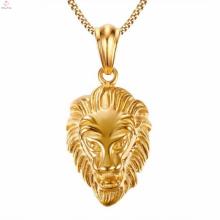 18K colgante de collar de joyería de cabeza de leones chapado en oro de gran tamaño