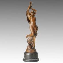 Danseuse Bronze Sculpture Nude Girl Carving Statue en laiton TPE-077