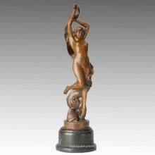 Танцовщица Бронзовая скульптура Обнаженная девушка Резьба Латунная статуя TPE-077