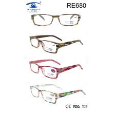 Новые продукты Красочные пластиковые очки для чтения для женщин (RE680)