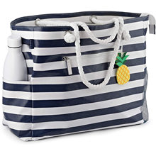 2021 Large Beach Bag Waterproof Canvas Beach Tote with Top Zipper-6 Pockets