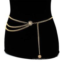 Women Fashion Belt Hip High Waist Gold Narrow Metal Chain Chunky Fringes for Dress Skirt and Coat