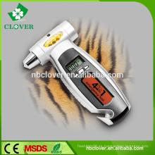 3 IN 1 retroiluminación roja con martillo seguro y correa de corte medidor digital de presión de los neumáticos