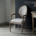 Hot sale home furniture oval back antique fabric french style dining chair