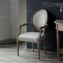 Venta caliente muebles para el hogar oval espalda tela antigua estilo francés comedor silla