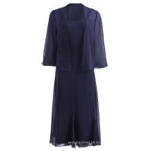 Kate Kasin Mujer 2pcs Set Chiffon 3/4 manga abierta frontal chaqueta + strappy vestido KK001059-1
