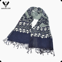 Lady Fashion Geometry Impresso Fringe Scarf