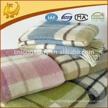 Irish Cashmere Feeling Wool Blankets, Various Color Checked Woven Pattern Twill Merino Wool Throw
