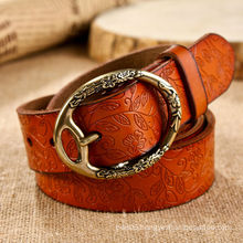 NEW WOMEN brown high printing prototype agio colored leather belt strap