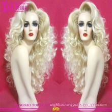 100% cabelo brasileiro não transformados #60 cor peruca loira por atacado do cabelo humano peruca cheia do laço peruca nova tendência loira para mulheres brancas