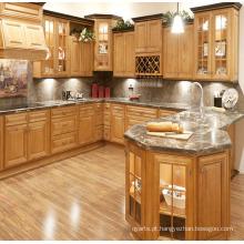 Gabinete de cozinha em madeira maciça de porta de quadro