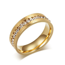 Anéis de cristal baratos do ouro de aço inoxidável, jóia do anel do círculo do ouro