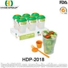 Copa plástica promocional de la coctelera de la ensalada con la bifurcación (HDP-2018)