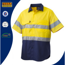 100% Cotton Reflective Spliced Short Sleeve Work Shirt