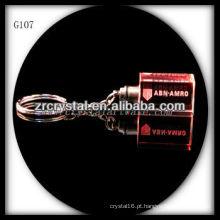 Chaveiro de cristal LED com imagem 3D gravado a laser dentro e em branco chaveiro de cristal G107