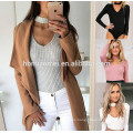 2017 new design women jumpsuit solid color autum long sleeve halter jumpsuit women